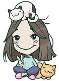 Hikikomori cute girl with cats Stock Images