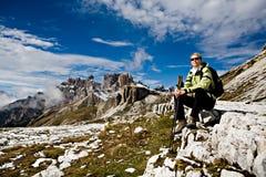 Hiking в доломите Стоковые Изображения RF
