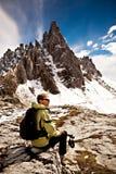 Hiking в доломите Стоковые Изображения