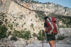hiking горы Девушка стоит на фоне высоких гор отдыхать девушки Стоковые Фото