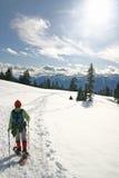 hiking женщина зимы Стоковое Изображение RF