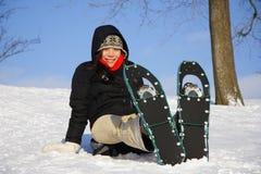 hiking женщина snowshoe Стоковое Фото
