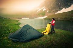 Hiking женщины Стоковые Фотографии RF