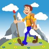 hiking мальчика Стоковая Фотография