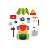 hiking оборудования Комплект элементов, пешая концепция Стоковые Фото