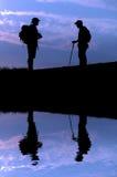 hiking отражение Стоковое фото RF