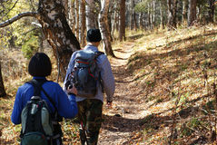 Hiking. Men and women in mountain Royalty Free Stock Photography