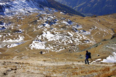 Hiking. In the high mountains Swiss Alps Valais Switzerland Royalty Free Stock Image