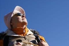 Hiking. Old women in mountain autumn Stock Image