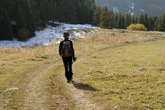 Hiking. Activity men in mountain autumn Stock Images
