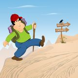 Hiking. Cartoon man hiking on the mountain carrying his backpack, barren plateau Stock Photography
