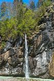 Waterfall in Aare gorge. Hiking in Aare mountain gorge. Switzerland royalty free stock photography
