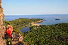 Hiking in Acadia National Park. Hiker looking at Schoodic Peninsula, Acadia National Park Stock Photo