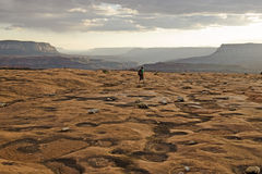 Hiking Across the Flats. A hiker walks along the endless sandstone flats of Grand Canyon National Park Stock Photo