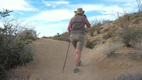 Active Woman With Trekking Poles Hiking In The Mojave Desert Park Joshua Tree. Hiking active mature women with trekking poles, walking the footpath in the Mojave stock video footage
