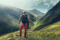Hiking Adventure Blogger Travel Concept. Handsome Male Traveler royalty free stock images