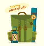 Hiking adventure. Cartoon camping backpack. Royalty Free Stock Image