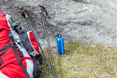 Hiking adventure equipment in mountains Royalty Free Stock Image