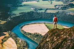 Hiking adventure in mountains Man stock photos