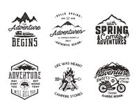 Hiking adventure and outdoor explorer typography labels set. Outdoors activity inspirational quotes. Silhouette hipster. Logos. Best for t shirts, mugs. Vector Stock Illustration