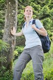 Hiking Adventure - Woman with Backpack Stock Photos