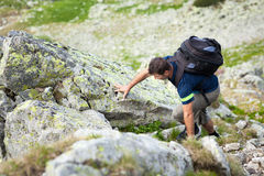 Hiking alone Stock Images