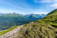 Hiking Along Alaska`s Chugach Mountains on the Kenai Peninsula royalty free stock image