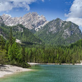 Hiking along the Lago di Braies / Pragser Wildsee Royalty Free Stock Image
