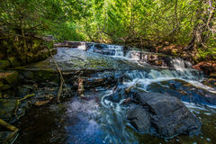 Hiking along a stream at Sleeping Giant Provincial Park  Ontario Canada Stock Photography