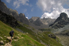 Hiking in Alps Stock Image