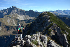 Hiking in the alps Panorama Stock Photography