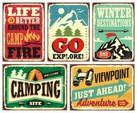 Free Hiking And Camping Retro Signs Collection Royalty Free Stock Photos - 163474888