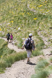 Hiking in Andorra. People hiking in the Pyrenees in Andorra Royalty Free Stock Photo