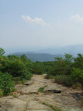 Hiking on Appalachian Trail at Blood Mountain. While hiking on Georgia section of Appalachian trail (AT), I came to the peak of Blood Mountain, highest point on Royalty Free Stock Images