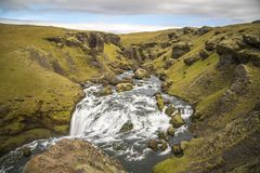 Hiking around Skogafoss. Scenes from Skogafoss and upriver Royalty Free Stock Photography