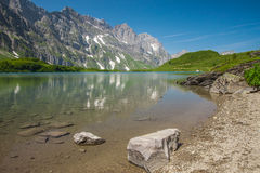 Hiking around Truebsee lake in Swiss Alps, Engelberg Royalty Free Stock Images