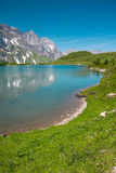 Hiking around Truebsee lake in Swiss Alps, Engelberg Stock Image