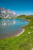Hiking around Truebsee lake in Swiss Alps, Engelberg Stock Image