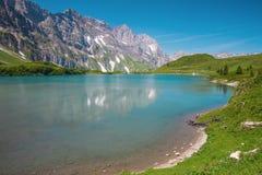 Hiking around Truebsee lake in Swiss Alps, Engelberg Royalty Free Stock Image