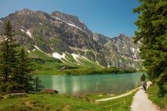 Hiking around Truebsee lake in Swiss Alps, Engelberg Royalty Free Stock Photos