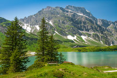 Hiking around Truebsee lake in Swiss Alps, Engelberg Royalty Free Stock Photo