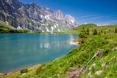 Hiking around Truebsee lake in Swiss Alps, Engelberg Royalty Free Stock Image