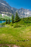 Hiking around Truebsee lake in Swiss Alps, Engelberg Royalty Free Stock Photos
