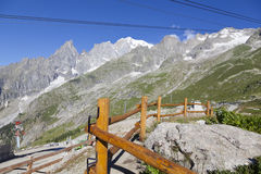 Hiking background.Mont Blanc is the highest peak of european Western Alps. Stock Photos