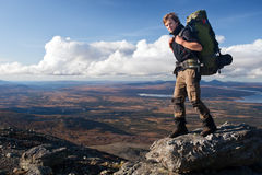 Hiking with Backpack in sweden Royalty Free Stock Photo