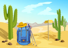 Hiking with a backpack. travel through the desert with cactuses Royalty Free Stock Photography