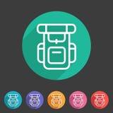 Hiking backpack trekking camping icon flat web sign symbol logo label Royalty Free Stock Photo