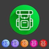 Hiking backpack trekking camping icon flat web sign symbol logo label Stock Photo