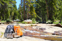 Hiking backpacks and hiker shoes - Hike concept Royalty Free Stock Image