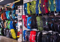 Hiking backpacks in sports shop Royalty Free Stock Images